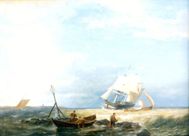 Pieter Cornelis Dommershuijzen | Setting out for sea, oil on panel, 28.0 x 38.5 cm