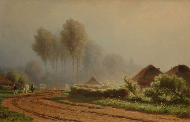 Adrianus van Everdingen | A sand path near a farm, oil on panel, 33.0 x 50.7 cm, signed l.r. and dated '67