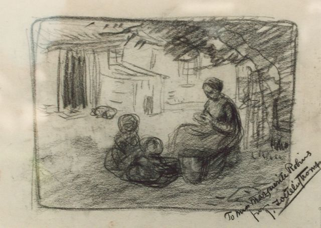 Jan Zoetelief Tromp | Children by a farm, drawing on paper, 24.5 x 33.5 cm, signed l.r.