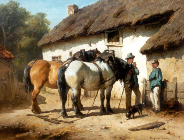 Wouter Verschuur jr. | Horses on a yard, oil on panel, 23.5 x 30.3 cm, signed l.r.