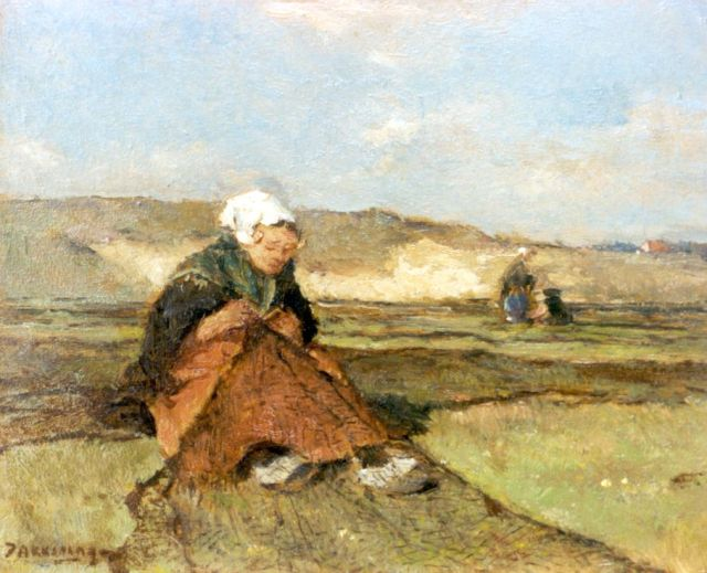 Johannes Evert Hendrik Akkeringa | Mending nets in the dunes, oil on panel, 14.5 x 17.1 cm, signed l.l.