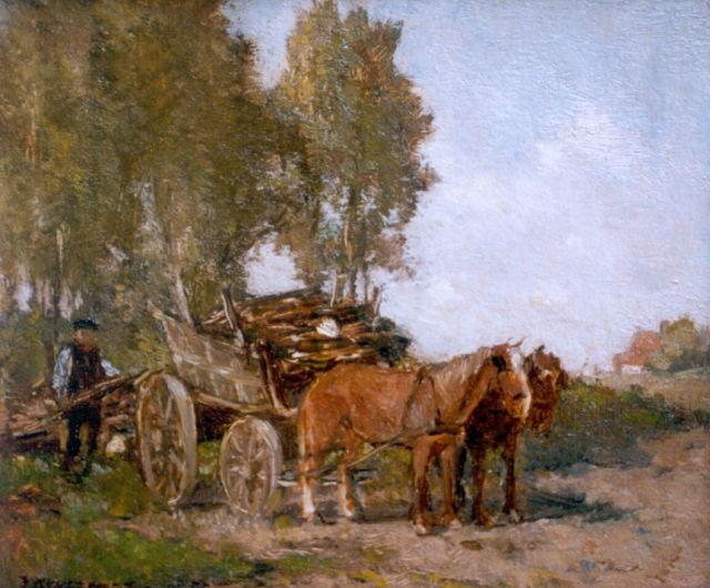 Johannes Evert Hendrik Akkeringa | Gathering wood, oil on panel, 14.6 x 17.1 cm, signed l.l.