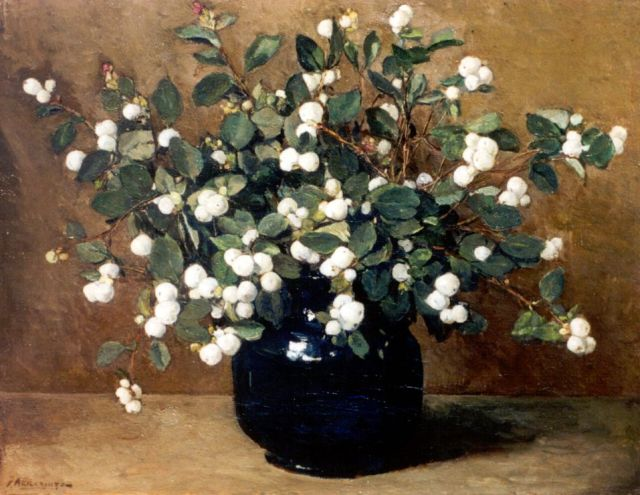 Johannes Evert Hendrik Akkeringa | Snowberries, oil on canvas, 33.5 x 41.2 cm, signed l.l. and on the reverse