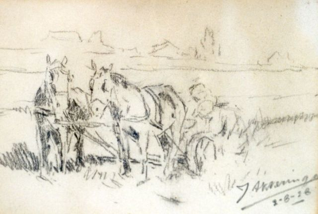 Johannes Evert Hendrik Akkeringa | Ploughing the fields, pencil on paper, 10.3 x 15.2 cm, signed l.r. and dated 2-8-28
