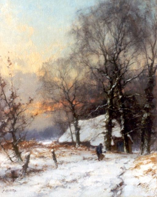 Jan Holtrup | The Achterhoek in winter, oil on canvas, 50.6 x 40.5 cm, signed l.l. and on the reverse