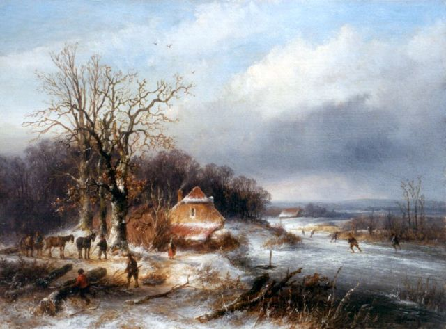 Josephus Gerardus Hans | A winter landscape with skaters on the ice, oil on panel, 23.3 x 31.5 cm, signed l.r. and dated '55