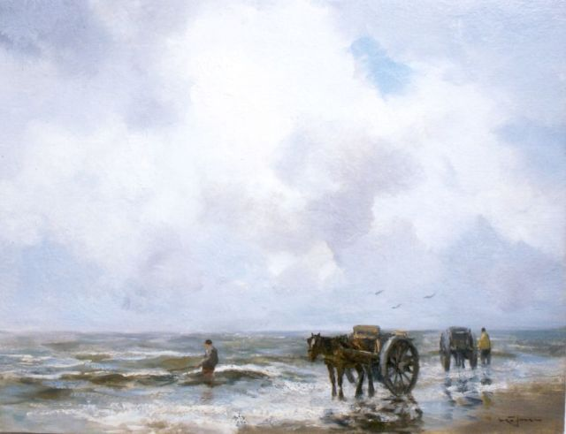 Willem George Frederik Jansen | A shell-gatherer in the surf, oil on canvas, 50.1 x 65.5 cm, signed l.r.