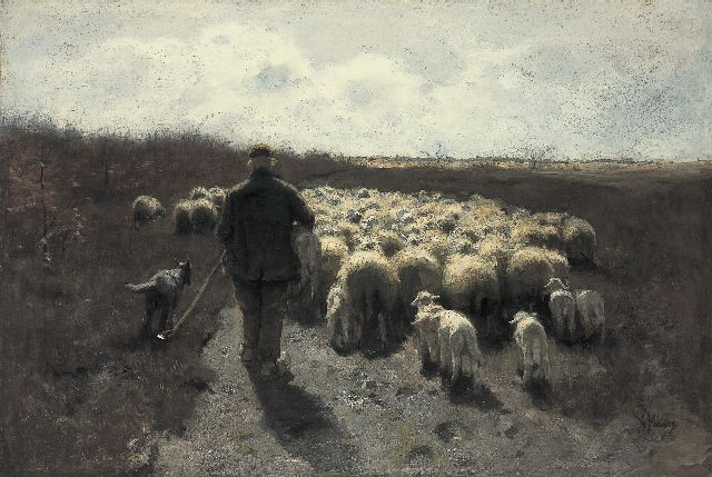 Anton Mauve | A shepherd with his flock, oil on canvas, 65.0 x 96.5 cm, signed l.r.