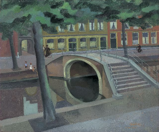 Theo Bitter | 'Oude Delft', oil on painter's board, 45.5 x 54.3 cm, signed l.r. and dated '44
