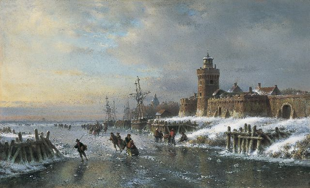 Lodewijk Johannes Kleijn | Skaters on a frozen waterway by a fortified town, oil on panel, 40.4 x 66.3 cm, signed l.l.