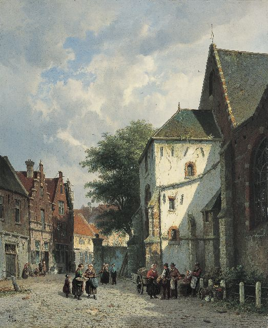 Adrianus Eversen | Village square, oil on canvas, 56.7 x 46.6 cm, signed l.l. and with monogram