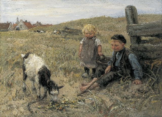 Jan Zoetelief Tromp | Feeding the goat, oil on canvas, 38.2 x 52.5 cm, signed l.r.