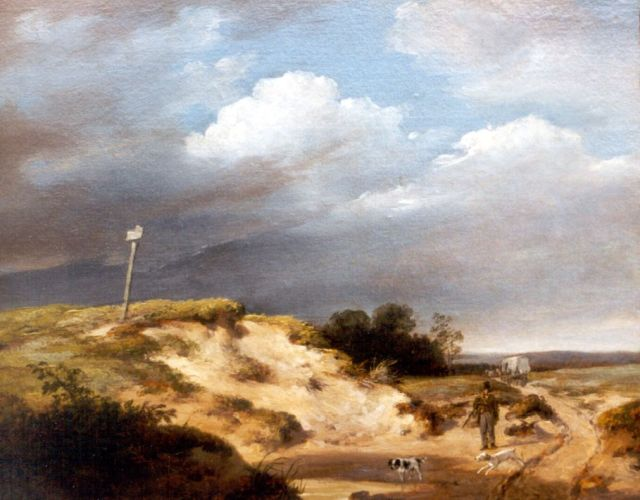Andreas Schelfhout | A hunter in a dune landscape, oil on panel, 18.4 x 22.7 cm, signed l.r. and painted circa 1820