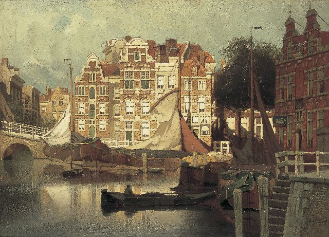 Karel Klinkenberg | A view of the Blaak and the Leuvehaven in Rotterdam, oil on panel, 32.7 x 45.0 cm, signed l.r.