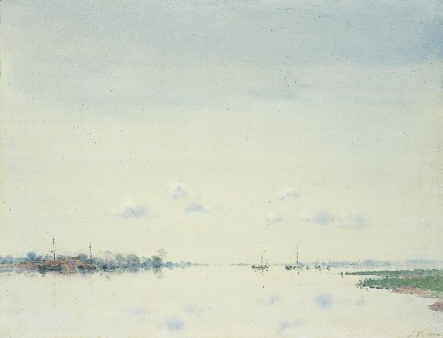 Jan Voerman sr. | The river Ijssel, oil on panel, 40.1 x 52.2 cm, signed l.r.