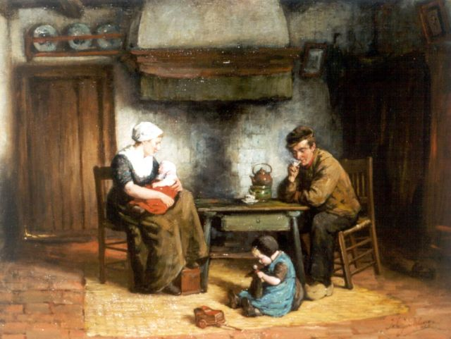 Johannes Jacobus Paling | A happy family, oil on canvas, 54.5 x 71.0 cm, signed l.r.