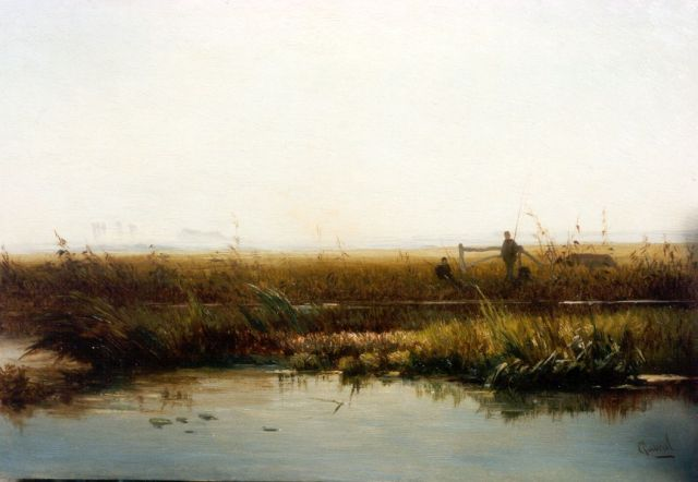 Paul Joseph Constantin Gabriel | Fishermen in a polder landscape, oil on panel, 21.5 x 31.3 cm, signed l.r.