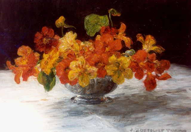 Jan Zoetelief Tromp | Nasturtium in a vase, oil on canvas, 30.0 x 39.8 cm, signed l.r.
