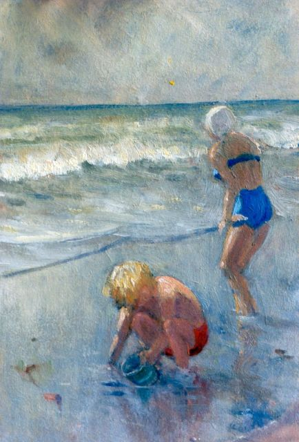 Hal Wichers | Children playing on the beach, oil on painter's board, 30.0 x 20.0 cm, signed l.r. and dated 1952