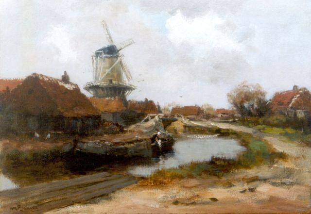 Willem George Frederik Jansen | A canal scene, Edam, oil on canvas, 35.6 x 50.5 cm, signed l.l.