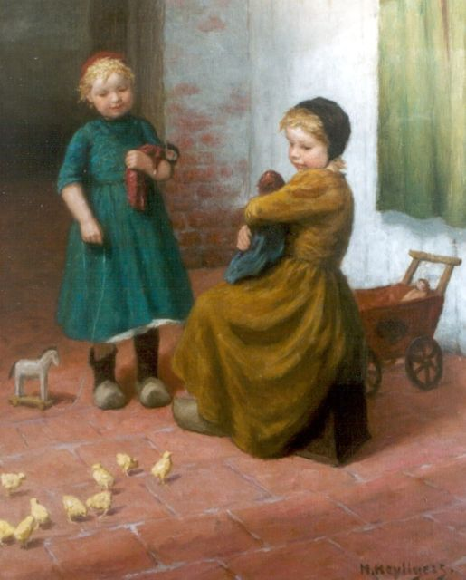 Henri Heijligers | Children playing with chicks, oil on canvas, 73.5 x 59.4 cm, signed l.r.