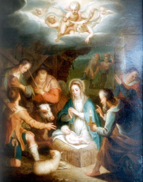 Duitse Romantische School   | Adoration of the shepherds, oil on panel 30.3 x 24.0 cm