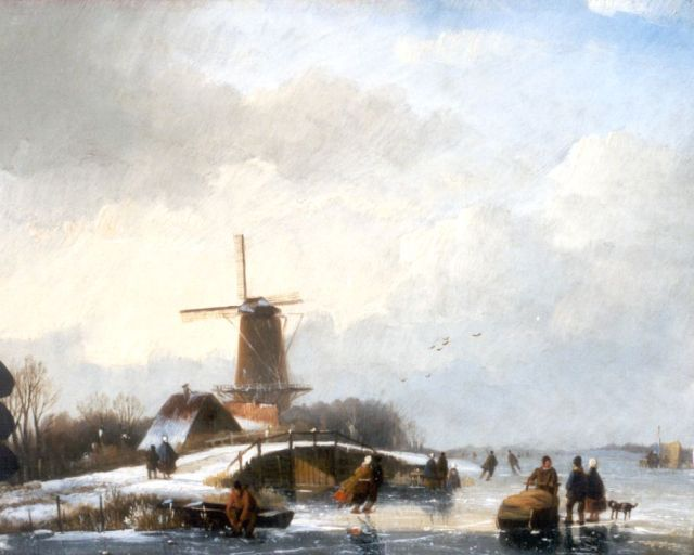 Jan Jacob Spohler | A winter landscape with skaters by a windmill, oil on panel, 20.1 x 25.0 cm, signed l.l. and painted between 1830-1840