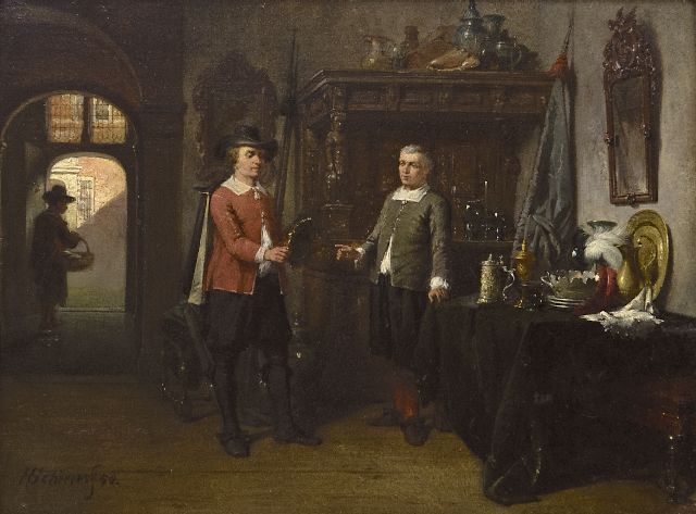 Hendricus Johannes Scheeres | The connoisseurs, oil on panel, 17.6 x 23.6 cm, signed l.l. and dated '58
