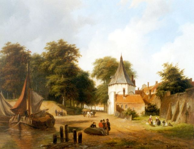 Hove B.J. van | Moored shipping, oil on panel 25.7 x 32.3 cm, signed l.r. and dated 1840