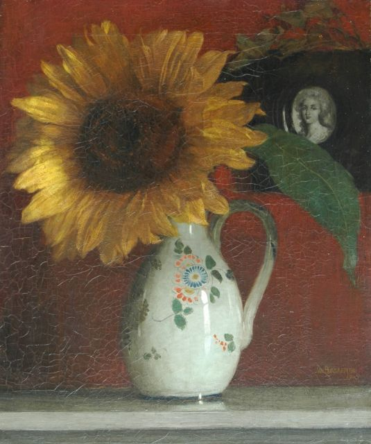 Jan Bogaerts | A sunflower in a decorated vase, oil on canvas, 47.0 x 38.0 cm, signed l.r.