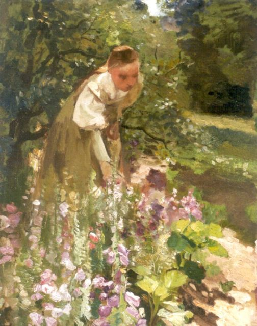Albert Neuhuys | Young woman working in the garden, oil on canvas, 60.2 x 46.0 cm, signed l.r. with studiostamp