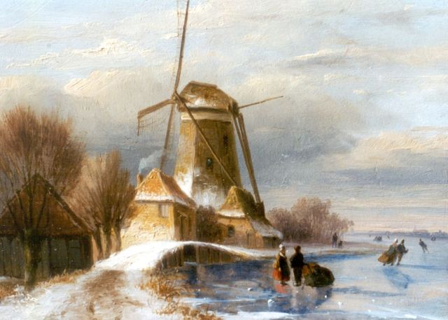 Nicolaas Johannes Roosenboom | Skaters on the ice by a windmill, oil on panel, 14.5 x 19.2 cm, signed l.l.
