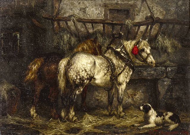 Boogaard W.J.  | In the stable, oil on panel 19.7 x 27.0 cm, signed l.r. and dated 1878