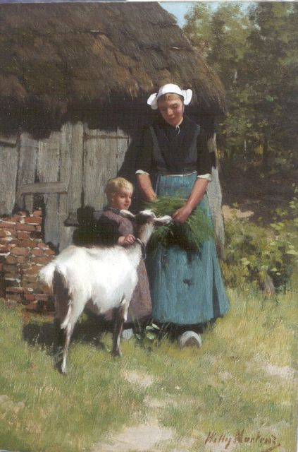 Willy Martens | Feeding the goat, oil on canvas, 65.3 x 46.1 cm, signed l.r.
