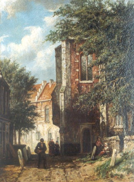Johannes Jacobus Mittertreiner | A sunlit street, oil on panel, 26.5 x 20.2 cm, signed l.r. with initials