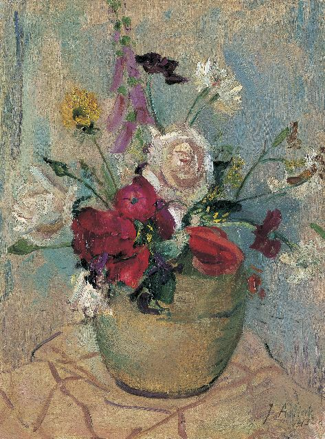 Jan Altink | A colourful bouquet in a vase, oil on canvas, 40.8 x 30.5 cm, signed l.r. and dated '43