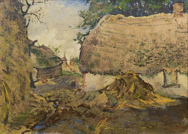Altink J.  | Farm with hay-stack, oil on canvas 50.3 x 70.3 cm, signed l.r. and dated '40