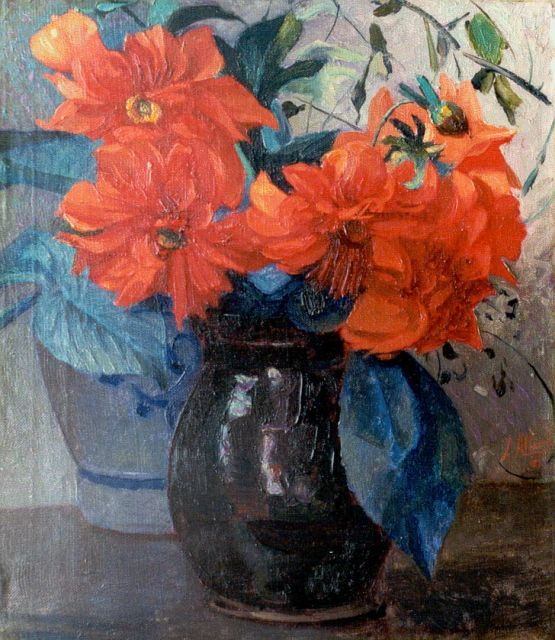 Jan Altink | Still life with dahlias, oil on canvas, 39.2 x 34.5 cm, signed l.r. and dated '18