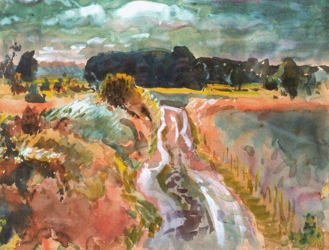 Jan Altink | Country road, Groningen, gouache on paper, 50.5 x 65.7 cm, signed l.r. and dated '51