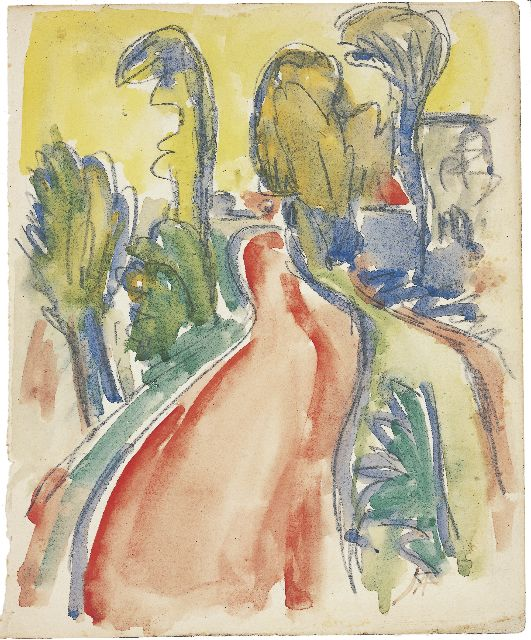 Jan Altink | A red road, pencil and watercolour on paper, 20.7 x 17.0 cm, signed l.r. with initials and painted between 1925-1930