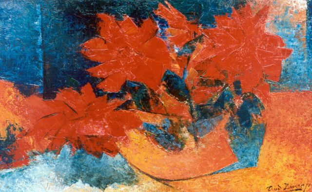 Douwe van der Zweep | Red flowers in a bowl, oil on canvas, 36.2 x 56.2 cm, signed l.r.