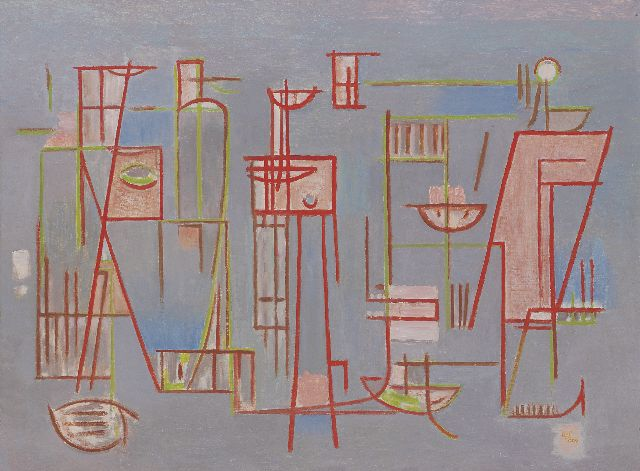 Wobbe Alkema | Composition no.11, oil on canvas, 59.8 x 80.0 cm, signed l.r. with initials and dated '57