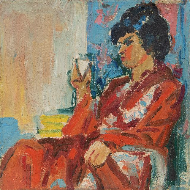 Johan Dijkstra | Elegant lady resting in a chair, wax paint on canvas, 25.2 x 25.2 cm
