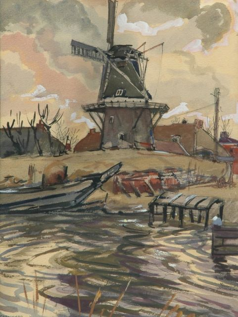 Jannes de Vries | Windmill in Garnwerd, East Indian ink and gouache on paper, 49.2 x 37.5 cm, signed l.l. with monogram and dated 27-3-'54