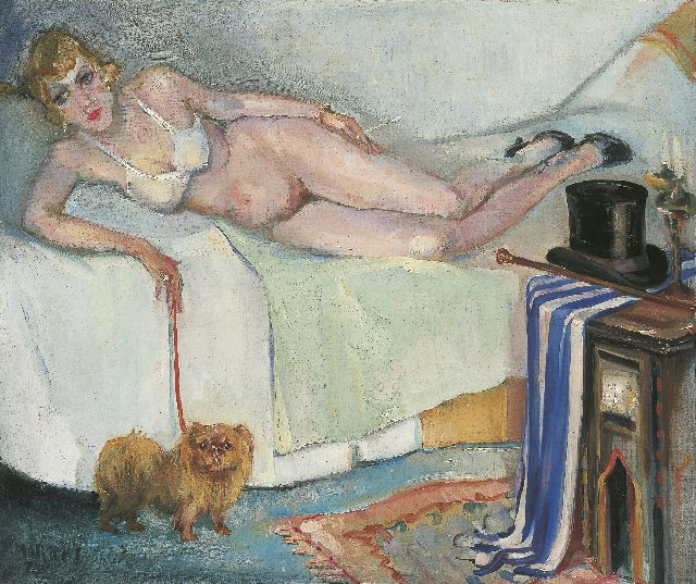 George Martens | A nude smoking, oil on canvas, 50.2 x 60.4 cm, signed l.l. and dated '37