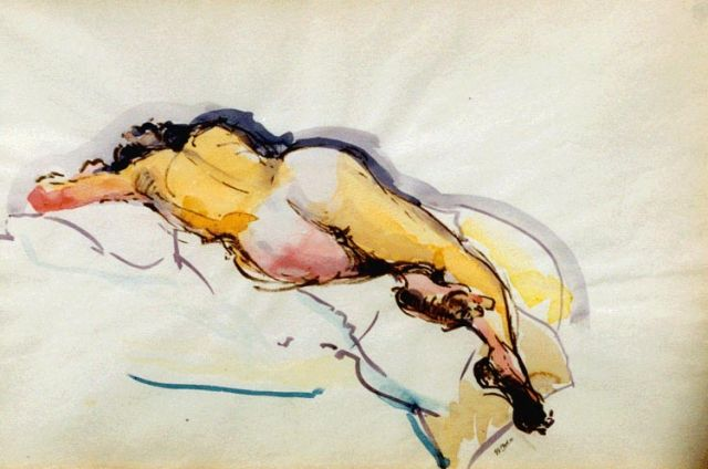 George Martens | A reclining nude, watercolour on paper, 32.5 x 49.0 cm, signed l.r.