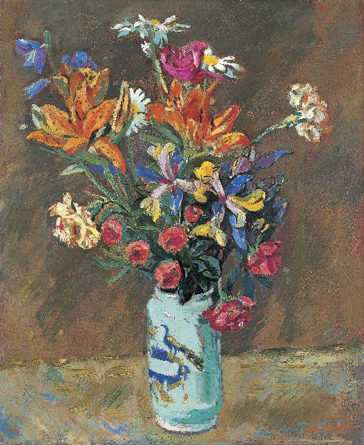 Wiegers J.  | A bunch of wildflowers, oil on canvas, 61.3 x 50.6 cm, signed l.r. and dated '44