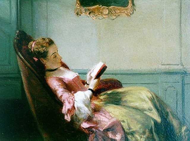 David Joseph Bles | An elegant lady reading, oil on panel, 12.5 x 16.5 cm, signed l.l.