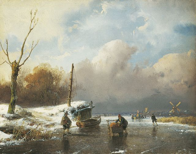 Andreas Schelfhout | Skaters on a frozen river, oil on panel, 14.6 x 18.8 cm, signed l.l.