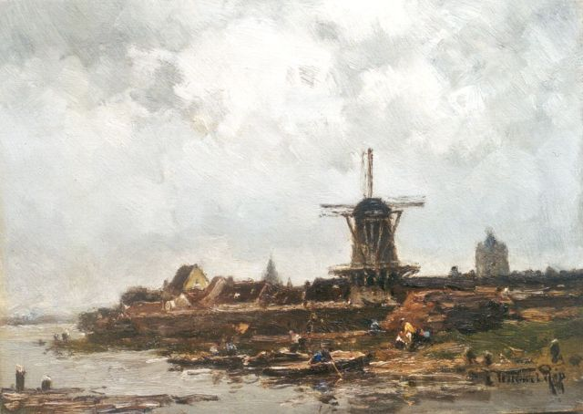 Willem Rip | A ferry near Wijk bij Duurstede, oil on panel, 26.3 x 36.2 cm, signed l.r. and on the reverse